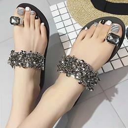 4bf060021 Black Flat Sandals Rhinestones Australia - Women Sandals Summer Beach Shoes  Bling Flip Flops Casual Flat