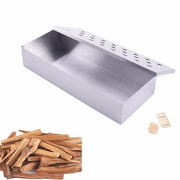 ptfe plates Australia - grill meat BBQ Tools Wood Chips Smoker Box For Indoor Outdoor Charcoal & Gas Barbecue Grill Meat Infused Smoke Flavor Accessories Smokerbox
