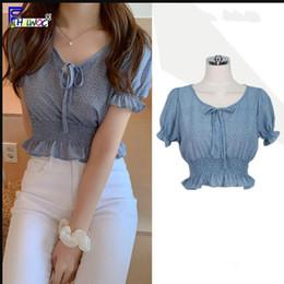 5bcc38a57 Crop Tops para mujer moda de verano de manga corta Slim Fit Bow Tie Short  Top azul lunares blusa camisas estilo coreano ropa 5011
