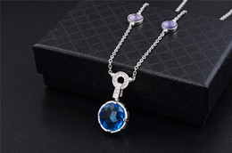 New free Necklace online shopping - Designer Jewelry NEW Blue Cubic Zircon Necklace S925 sterling silver Screw Necklace Luxury Woman love gift