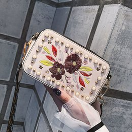 $enCountryForm.capitalKeyWord NZ - Women Floral Embroidery Colorful Rivet Decorated Cell Phone Pocket Shoulder Bag good quality Women Bag