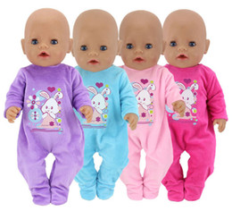 jumpsuit babies Australia - 18 Inch United States Girl Doll Clothes Fit 43cm Baby Doll 4 Colors Jumpsuit Plush Crawling Clothes Children Best Gift Baby Doll