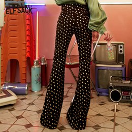 flared floral trousers Australia - Elf Sack Vintage Black Women Flare Pants,fashion Floral Embroidery Mid Waist Casual Femme Trousers 2019 Autumn New Bottoms SH190802