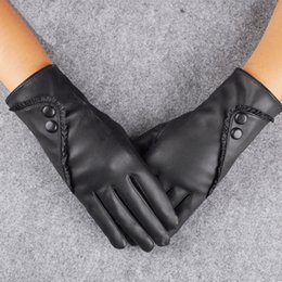Warm Leather Gloves Ladies Australia - Women Lady Black Leather Gloves Autumn Winter Warm Rabbit Fur Bicycle Mittens Guantes mujer Eldiven solid Luvas de couro inverno D19011005