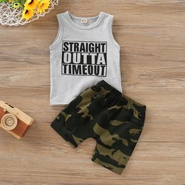 Uk Clothes Australia - UK Newborn Kids Baby Boys Vest Tops Camouflage Shorts Pants Outfits Clothes Sets