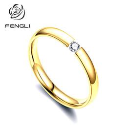 $enCountryForm.capitalKeyWord Australia - FENGLI Simple Mini Finger Rings for Women Rose Gold Polished Stainless Steel Ring Brand Crystal Charm Rings Valentine Gift