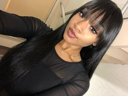 Silk Based Peruvian Wig Australia - Silk Straight Silk Base Wigs Glueless Pre Plucked Full Lace Human Hair Wigs With Baby Hair 130% Density Brazilian Hair With Bangs For Black