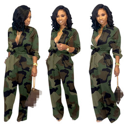 green long sleeve pants jumpsuit Australia - New Green Camouflage Women Cargo Jumpsuits Elegant Long Sleeves V Neck Full Length Fashion Girls Straight Rompers Pants Real Photos