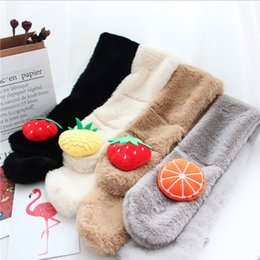 Wholesale Rabbit Fur Scarves NZ - 2019 Cute Fruit Cartoons Boys Girls Winter Scarf Imitation Rabbit Fur Collar Comfortable Scarf Neck Warmers Kids Christmas Gift
