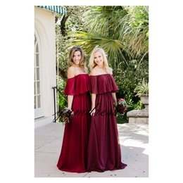 custom short gown UK - Burgundy Bridesmaid Dresses 2019 Sexy boat neck Short Sleeve Backless Junior Maid of Honor Gowns Custom Made Wedding Party Dress