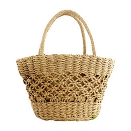 $enCountryForm.capitalKeyWord NZ - Ins New Hot Paper Rope Woven Pattern Beach Bag Handbag Totes Fashion Women Bag Natural Fashionable Straw Bags For Ladies