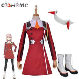 costume wigs women Australia - Coshome DARLING in the FRANXX 02 Zero Two Cosplay Costume Long Pink Wig Women Jacket Coat for Halloween Party ChristmasMX190923