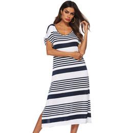 f090ef1ffd366 Women loose fitting dresses online shopping - Women Striped Summer Casual V  Neck Dresses Female Beach