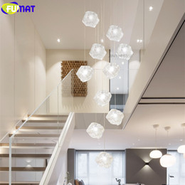 Chandeliers Australia - FUMAT Ice Cube Glass Spiral Staircase Villa Ceiling Lamps LED Modern Style Pyramid Layers Lights Penthouse Chandelier Hanglamp