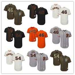 Vente en gros 2019 San Francisco # 46 Santiago Casilla 54 Sergio Romo hommes # FEMMES # JEUNESSE # Maillot de baseball pour homme Majestueux cousu de géants professionnels