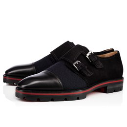 designs dress Canada - Men's Wedding Dress Flats Luxe Design Red Bottom Mortimer Oxfords Dress Shoes Calfskin Leather With Buckle Suede heightening shoes Superqual