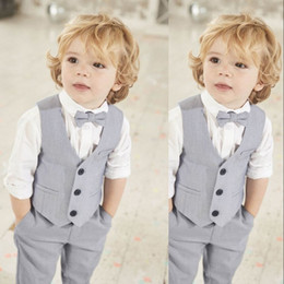 pink tweed suit NZ - New Gray Boys Vest Set For Wedding Party Three Button Kids birthday Wear Suit Vests Two Piece (Jacket+Pants+Bow)