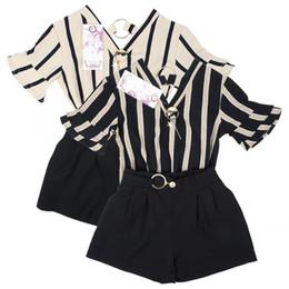 $enCountryForm.capitalKeyWord UK - 2pcs Set Girl Shirt Pants Set Fashion Child Girl Strip Short Sleeve V-neck Shirt Pants for Spring Summer