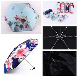 Shade Lights Australia - Printing Shading Outdoor Portable Ultra Light Five-folding Umbrella UV Protection Umbrella Waterproof Flower Printing Umbrella DH0880 T03