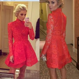 $enCountryForm.capitalKeyWord NZ - Red Lace Short Prom Dresses 2019 A Line High Neck Appliqued Mini Long Sleeves Party Cocktail Dress Evening Gowns Wear Homecoming Dress