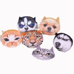 Dog Zipper Australia - Bags 3D Printing Cat Dog Tiger Cartoon Handbag Plush MINI Coin Purses Wallets Zipper Key Headphone Holder Bags