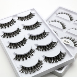 Cheap Cotton Stalks Australia - HW-08 HW-50 Cheap Price Wholesale Lashes 5 Pairs Synthetic Hair Premium Silk False Eyelash