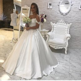 Short Formal Wedding Dress NZ - Modern A Line Wedding Dresses Off Shoulder Short Sleeves Lace Appliques Beads Button Back Satin Sweep Train Formal Bridal Gowns