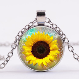 $enCountryForm.capitalKeyWord Canada - Cross-border new sunflower flower sunflower pendant time gemstone necklace foreign trade hot sale can be customized wholesale can be customi