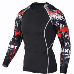 Mens Compression Gear NZ - Mens Fitness 3d Prints Long Sleeves T Shirt Men Bodybuilding Skin Tight Thermal Compression Shirts Mma Crossfit Workout Top Gear
