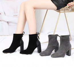 f423f0c0 2019 nuevas mujeres de la llegada moda tacones gruesos 8 cm botas cortas  señora de la oficina que trabaja casual chicas de cuero de gamuza negro  arranque ...