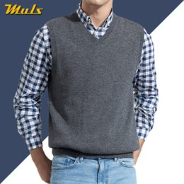 long knitted sleeveless cardigan Australia - Men Sleeveless Sweater Vest Male Autumn Spring Cotton Knitted Solid Vest Sweater Man Business V Neck Top 2019 New Slim Fit 3XL SH190930