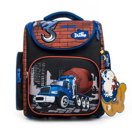 Delune Brand Kids 3d Cars Tank School Backpack For Boys Girls Grade 1-3  Children Primary Orthopedic School Bags Mochila Infantil c40cfb0e65527
