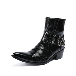biker boots pointed Australia - Gothic Punk Men Pointed Toe Shoes Buckle Rivet Biker Block Heels Ankle Boots Real Leather Office Dress Shoes Knight Boots