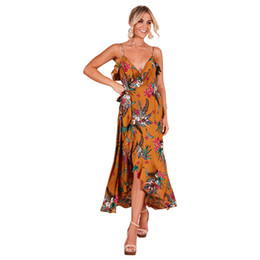 beach night dress party UK - 2019 Women Summer Print Bohemian Beach Dresses Sexy Party Night Elegant Fashion Yellow Midi Dress