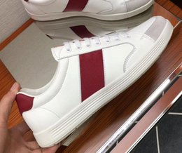 $enCountryForm.capitalKeyWord Australia - 2019 spring FALL Designer mens white REAL LEATHER with canvas Fabric Breathable SHOES low TOP Rubber sole lace up Fashion Trainers Sneakers