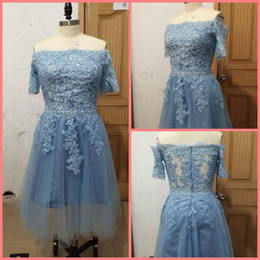 $enCountryForm.capitalKeyWord Australia - 2019 real picture blue a line tea length prom dresses off the shoulder short sleeve lace appliques petite girls prom gowns cocktail dresses