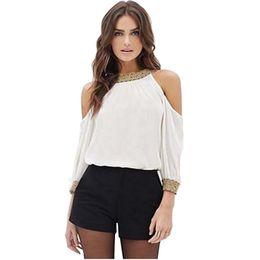chiffon long sleeve tee shirts 2019 - T-Shirt Women 2018 Sexy Off Shoulder Solid Long Sleeve Autumn Jumper Feminina Female Tops Tee Shirt Femme discount chiff