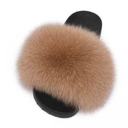 998902d499c 2018 New Fur Slides Women s Real Fox Fur Slippers Shoes Flip Flops Flat  Fluffy Fur Retail Wholesale S6018F