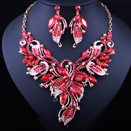 Luxury full diamond painted flower necklace earrings two-piece suit Middle East African bride wedding jewelry set from cheap platinum earrings suppliers