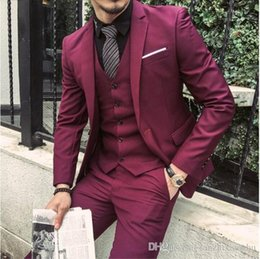 Three Piece Suit Bow Australia - Burgundy Slim Fit Men's Tuxedos Three Piece Suit One Button Black Shawl Lapel Groomsmen Jacket+Vest+Pant+Bow