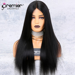 China Silk Base Lace Front Wigs Middle Part Yaki Straight 150% Density 100 Brazilian Remy Hair Wigs cheap dark brown silk wig suppliers