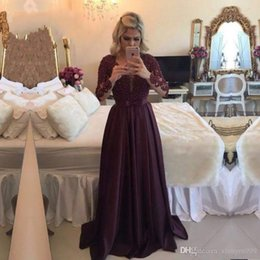 $enCountryForm.capitalKeyWord Australia - Wine Red Lace Applique Beaded Evening Dresses Illusion Jewel Long Sleeves Prom Dress Floor Length A-line Special Occasion Dress