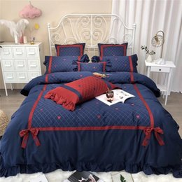 moon stars bedding 2021 - 42 4 7pcs Red blue Bedlinen Soft Bedclothes Stars moon embroidery Bedcover Duvet Cover Pillowcase egyptian Cotton Beddin