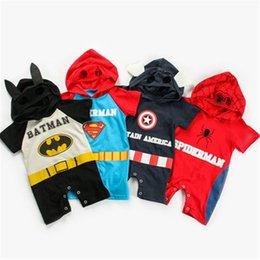 $enCountryForm.capitalKeyWord Australia - Baby Boy Girl Avenger 4 Rompers Cartoon Superman Spiderman Captain America Jumpsuit Short Sleeve Hooded Romper Cosplay Clothing Jumpsuits