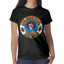 $enCountryForm.capitalKeyWord NZ - Grateful dead rose skull rose Woman Top Classic Outdoor Cheap T Shirts Design O Neck Shirts Womans Graphic T Shirts