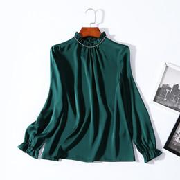 668c95747c8f3 2019 Ladies Luxury Newest Pure Color Beaded Silk O Neck Blouse Women  Lantern Long Sleeve Fashion Elegant Shirt Shirts BBS811851201