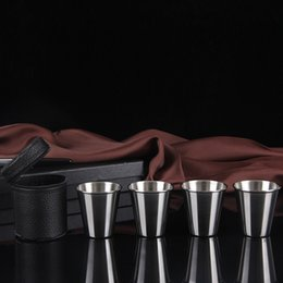 $enCountryForm.capitalKeyWord NZ - 4pcs set 70ml Stainless Steel Shot Glass Mini Wine Cup for Wine Beer Whiskey Drink Men's Outdoor Travel Gift