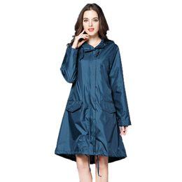$enCountryForm.capitalKeyWord UK - 6 Colors Waterproof Raincoat Women Hooded Long Rain Jacket Breathable Rain Coat Poncho Outdoor Rainwear T8190615