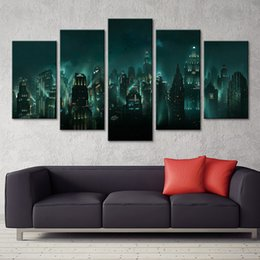 $enCountryForm.capitalKeyWord Australia - Canvas Pictures Home Decor HD Print 5 Panel Bioshock Rapture Night View Painting Modular Abstract Game Poster Wall Art Framework