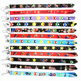 Print id card online shopping - Super Mario Bros Mobile phone lanyard cartoon printed ID card Document Phone neck Straps Key Chains Game Gift party favro FFA1726